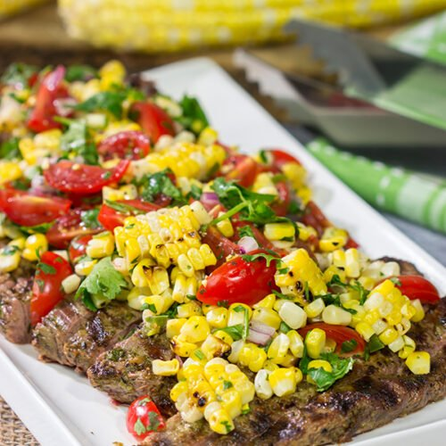 Fire up the grill! This Grilled Flank Steak with Charred Corn Salsa is a great recipe for summer dinners on the back porch!