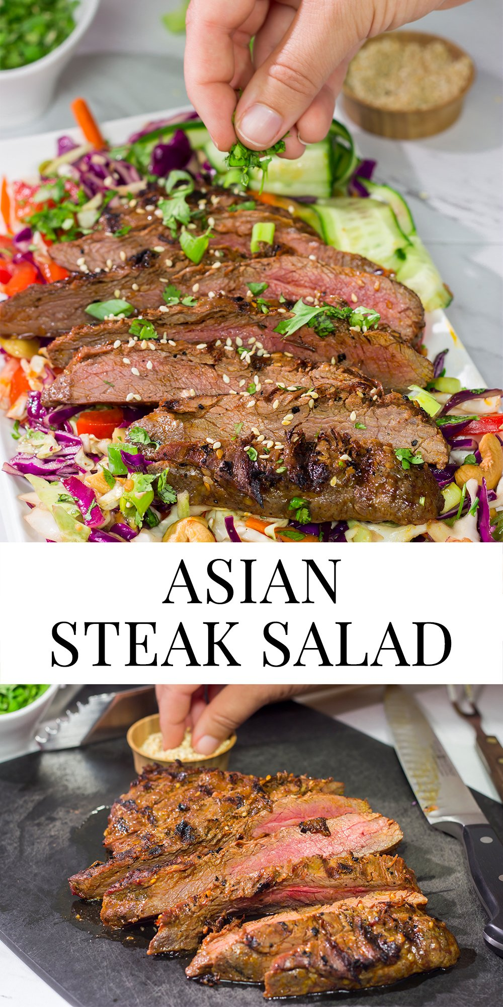 Featuring a flavorful, grilled flank steak served over a colorful salad, this Asian Steak Salad is an easy and tasty way to mix up the weeknight dinner routine!