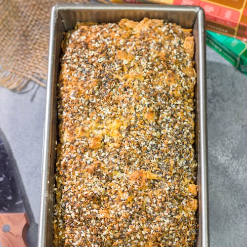 Filled with melted cheese and topped with everything bagel seasoning, this Cheesy Everything Bread is a great way to celebrate the return of baking season!