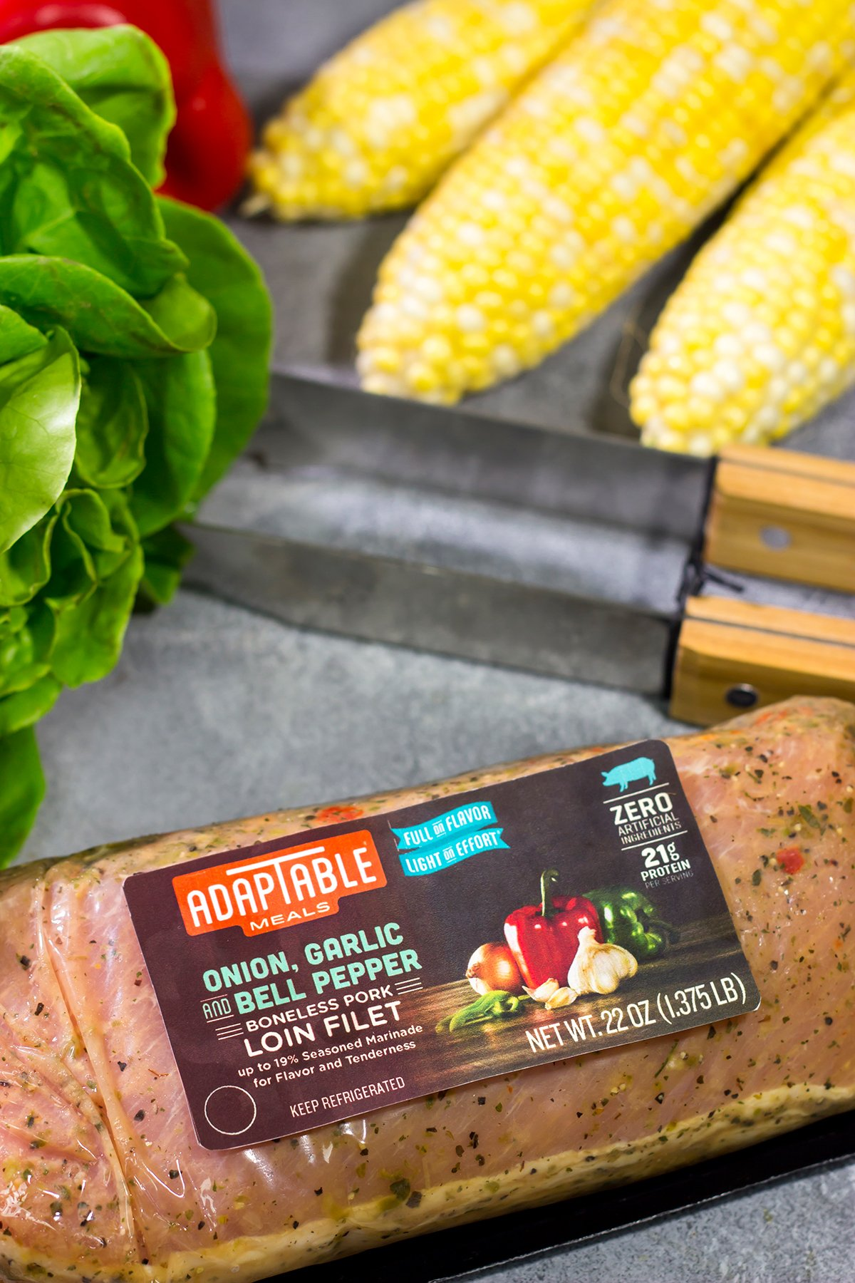 Filled with thinly sliced, marinated pork loin, grilled corn and chopped peppers, these Southwest Pork Lettuce Wraps make for a tasty gameday appetizer or meal!